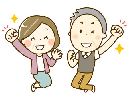 ジャンプする高齢者夫婦