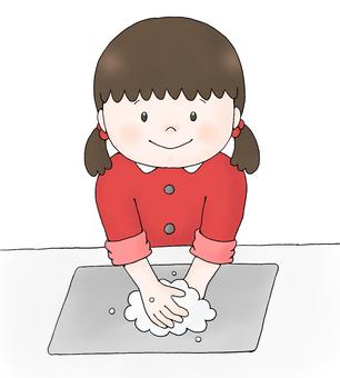 Girl (hand washing)