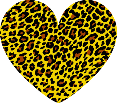 Heart _ leopard pattern _ yellow