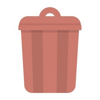 Red-brown garbage can