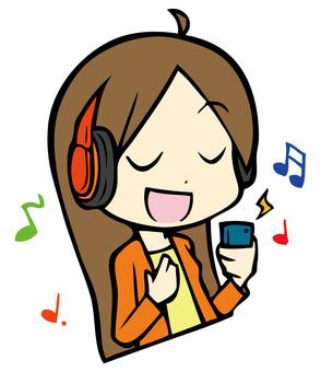 女孩聽音樂2