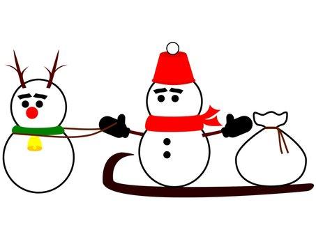 Snowman Santa and reindeer