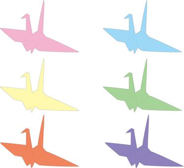 Folded crane 6 colors