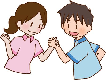 [Rehabilitation] cooperation, cooperation, tag, handshake