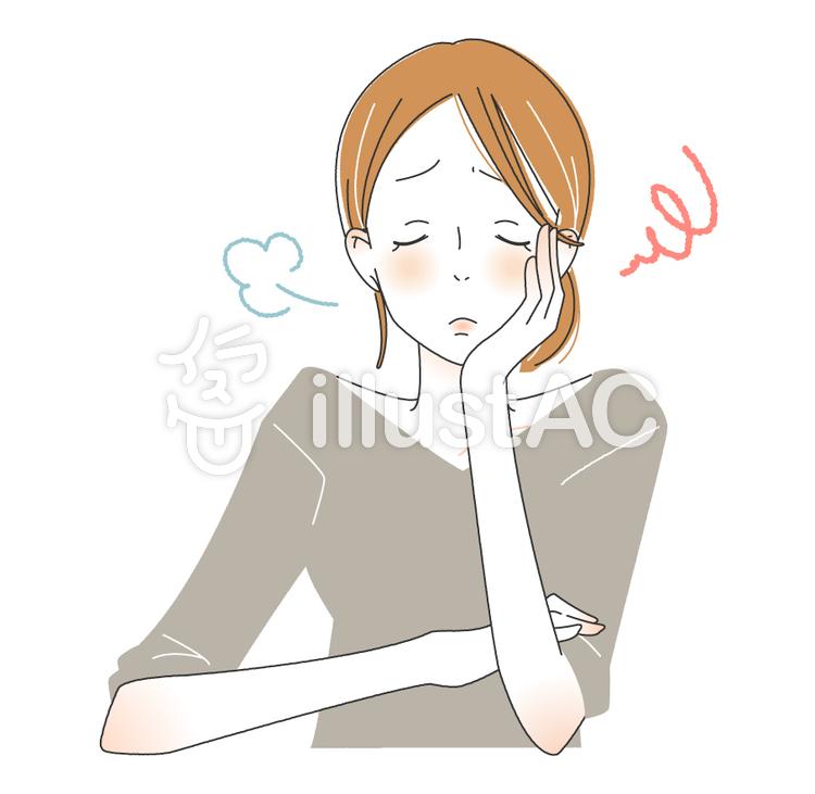 ため息をつく大人女子のイラスト
