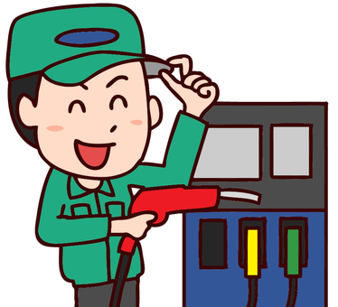Illustration of gas stations staff