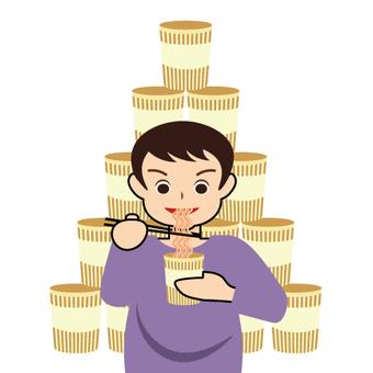 Man eating cup ramen