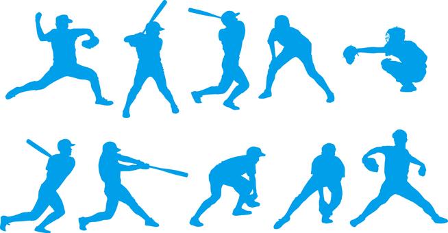Baseball player _ Silhouette _ Set _ 01 _ Blue