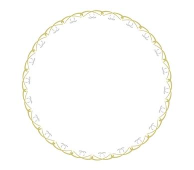 金色和銀色圓形絲帶裝飾框架