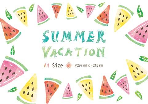 Watercolor tropical watermelon frame A 4