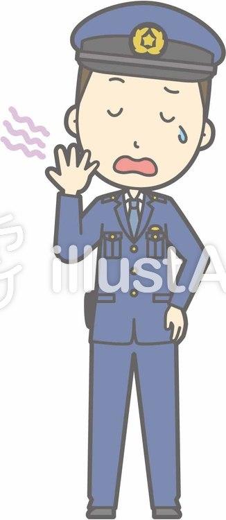 警察官男性a-あくび-全身のイラスト
