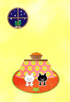 Cat White Cat Black Cat 炬燵 Postcard Winter