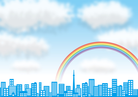 City, rainbow and clouds
