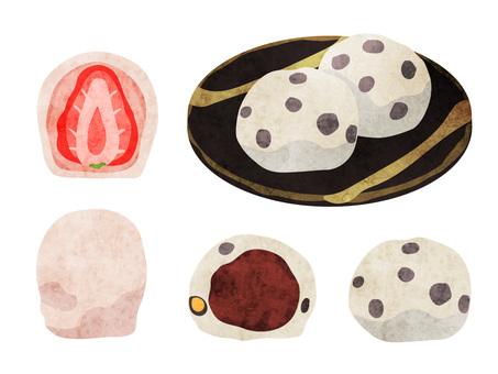 Cooking_Japanese confectionery_Daifuku_Watercolor
