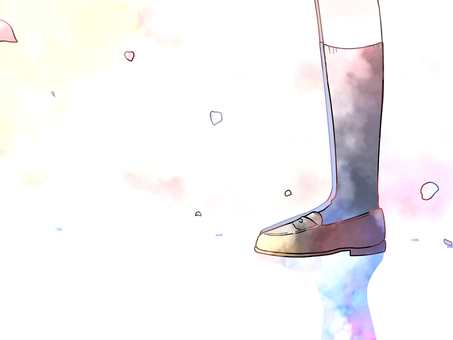 Girl's feet and cherry petals