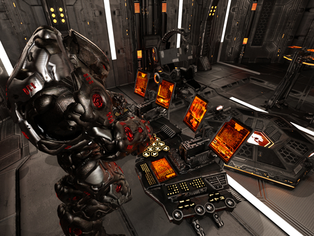宇宙船を制御室で操縦するロボット