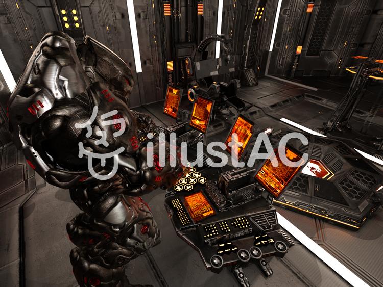 宇宙船を制御室で操縦するロボットのイラスト