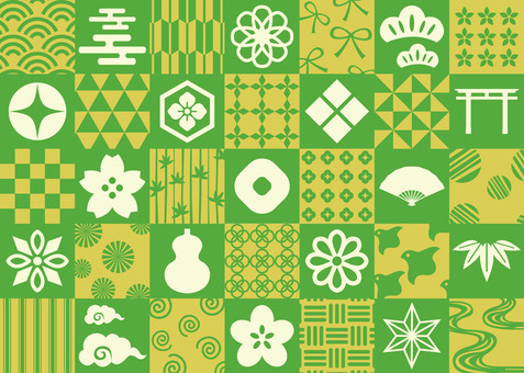 Japanese pattern material green