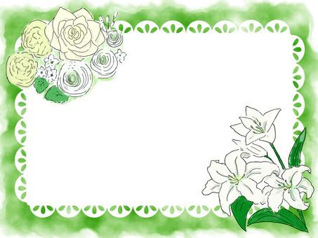 White celebration flower lace card frame