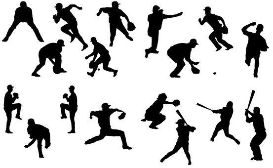 Baseball player silhouette set