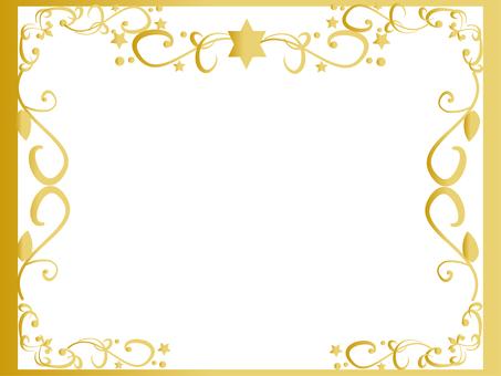Gold frame of glitter star