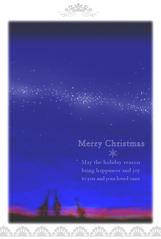 Christmas card starry sky milky way