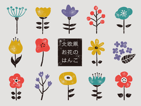 Nordic flower sticker
