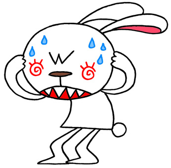 Rabbit character · cold sweat