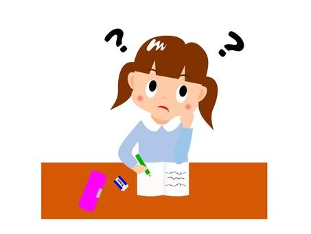 Girl thinking while studying