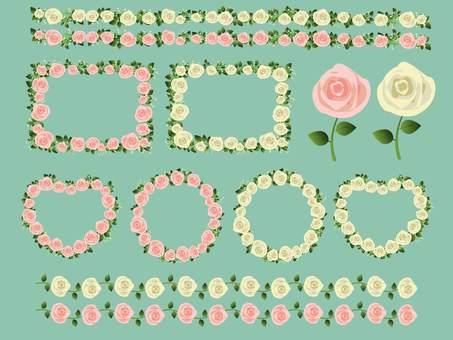 桃紅色和白色玫瑰框架集