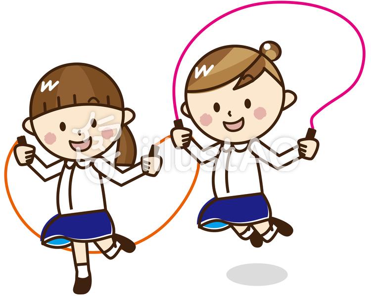 縄跳びする女の子2人a48イラスト No 625532無料イラストなら