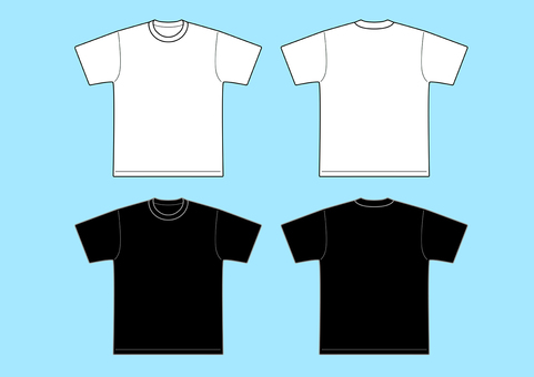 T-shirt template white and black