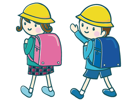 First grader of a school bag