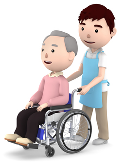 Grandfather of wheelchair and male helper