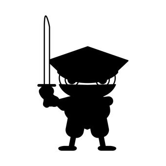 A black ninja (sword deformed) holding a sword (1)