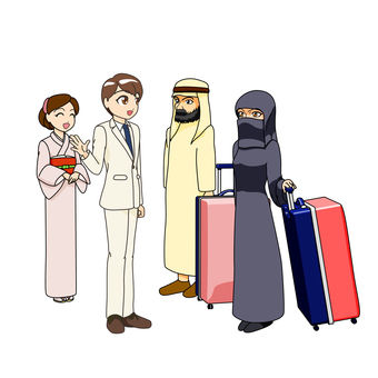Male interpreter guide and foreign tourist, Islam