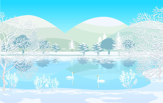 Winter scenic lake illustration