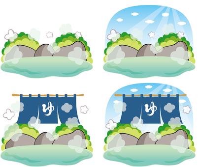 Natural hot spring open-air bath rock bath background set