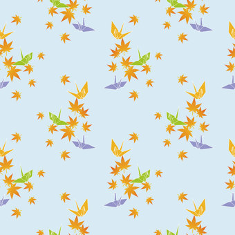 Folding crane and autumn leaves wallpaper (blue series)