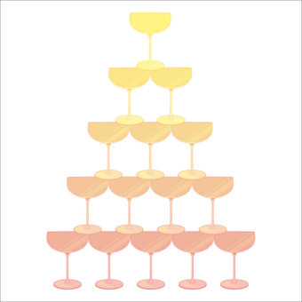 Champagne tower liquor party illustration