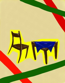 Chair and desk (collage style)