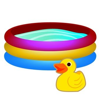 Vinyl pool and duck dolls