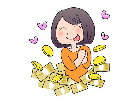 A woman happy with a lot of money