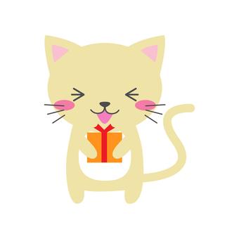 Cat holding a present