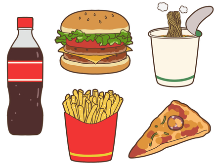 Potato / carbonated / ramen / pizza / burger