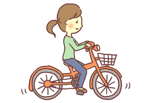 A woman riding a bicycle (right)