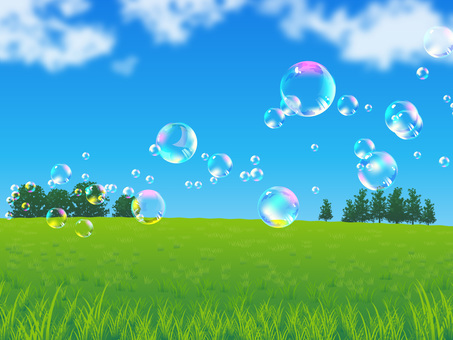 Fresh sky and soap bubbles and meadow background 01
