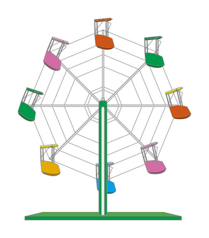 Ferris wheel illustrations in children's countries