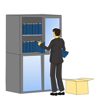 Men looking for document files
