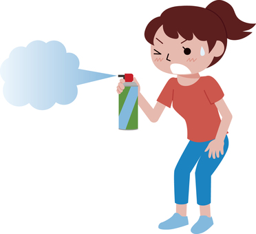 Woman Spraying Insecticide Spray